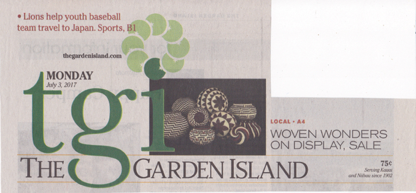 Woven Wonders Display, Sale by Jessica Else of The Garden Island local newspaper