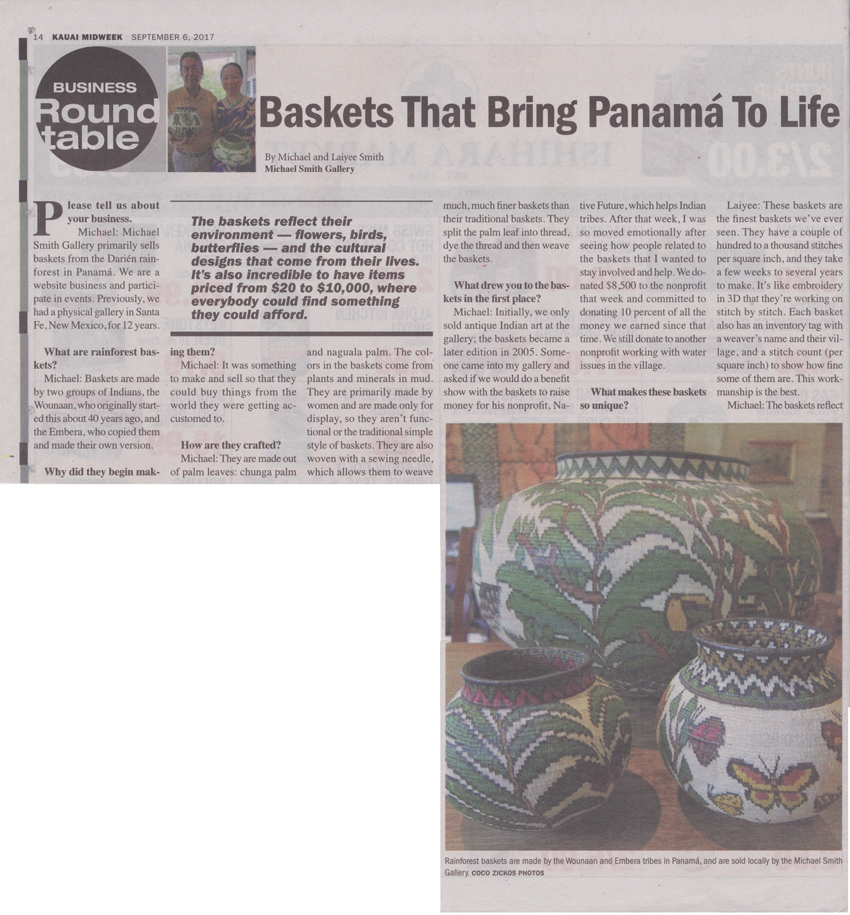 Business Roundtable: Baskets that Brings Panama to Life published in Kauai Midweek local newspaper