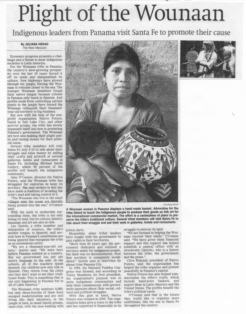 Plight of the Wounaan - article published in The New Mexican newspaper